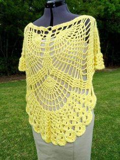 Crochet Poncho Pattern – Oval Lace Doil- 24 Lots Of Inspiration/ Crochet Poncho Design Crochet Cape Pattern, Crochet Poncho Patterns, Shawl Patterns, Crochet Shirt, Knit Crochet, Crochet Vests, Crochet Motif, Free Crochet, Freeform Crochet
