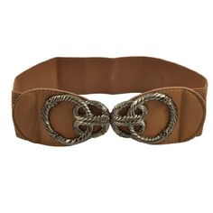 Allegra K Lady Metal Interlocking Rope Knot Buckle Brown Elastic Cinch Belt Allegra K. $8.52
