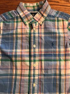 Polo, Ralph Lauren Boys Size 6 Multi Plaid Short Sleeve Button Front Shirt  | eBay