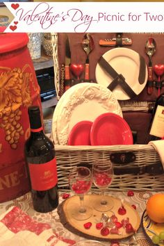 What do you have planned for your Love this Valentine's Day? How about an indoor picnic, complete with vintage basket, wine, fruit and chocolates! This stunning indoor picnic will give you loads of inspiration for your own celebration!!