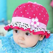 b649ff218a2 So Cute Summer Hat Baby Girls Sun Flower Hat Cotton Polka Dot Hearts Hat  Cap 3