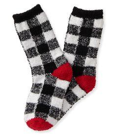 Kids' Fuzzy Checkered Crew Socks