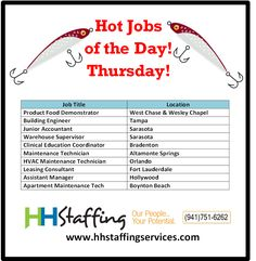 Hello hello, #jobseekers! Have you been having a nice day? We've been busy busy busy, and that's good news for you, as we have LOTS of #employment opportunities available! Our expert #recruiters can help you hook a new #job in no time. :) Take a look at our hot #jobs and see if one may be a good fit for you. If so, please send your resume to customerservices@hhstaffingservices.com. Questions? Just give us a call at (941)751-6262 and we will be happy to assist!