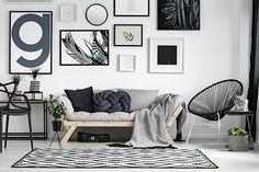 Ideias criativas e fáceis para a decoração da casa nova Kiesel, Leaf Wall Art, Bedroom Sofa, Scandinavian Bedroom, Scandinavian Design, Wooden Sofa, White Rooms, Affordable Home Decor, Home Decor Store