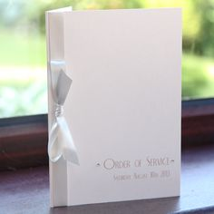 Ivory Vintage Style Art Deco Order Of Service with Ribbon - Vintage Wedding Stationery Scotland - VOWS Award Nominee 2013