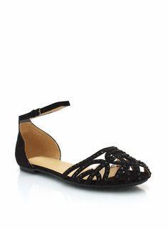 embellished ankle strap flats