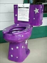 Purple toilet, haha now I've seen everything!