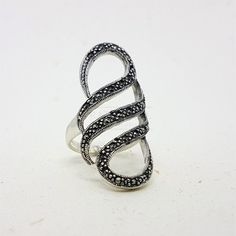 Anel Marcassita Curvas Vazado, Prata 925 – Bali Silver Rings, Bracelets, Leather, Jewelry, Amethyst, Handmade Chain Jewelry, Jewels, Emerald, Carnelian