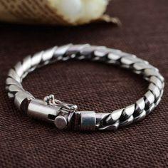 GZ Pure 925 Silver Bracelet Punk Link Chain Thai Silver Length Bracelets for Men Jewelry Gold Necklace For Men, Mens Silver Jewelry, Silver Jewellery Indian, Sterling Silver Jewelry, Jewelry For Men, Mens Jewellery, Jewelry Art, Silver Earrings, Silver Chain For Men