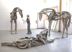 deborah butterfield studio portrait with horses... really love this...