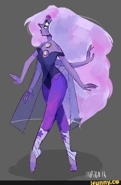 Who's fusion is this? <<<<She's an Opal, so Amethyst and Blue Pearl (I think, based on the colors and the long skirt/cape. Yellow Pearl's gem is also on her chest, but it looks more like Blue Pearl's overall design, and it's not the Opal we know already).