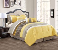 7 Piece Queen Yellow/Taupe/White Comforter Set
