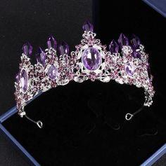 Beads Jewelry, Headpiece Jewelry, Crystal Jewelry, Jewellery Earrings, Wedding Dress Accessories, Wedding Jewelry Sets, Purple Accessories, Crystal Crown, Crystal Rhinestone