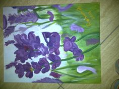 Lavender Garden..painted with only student primary acrilyic paint