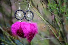 Black and Magenta Dream Catcher Earrings by nZuriArtDesigns