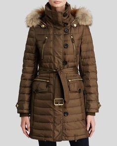 Burberry Brit Pipleigh Down Puffer Coat with Fur Hood in mink grey   Bloomingdale's