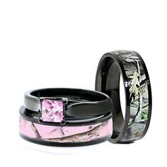 details about his black camo band her pink titanium engagement wedding ring set pink princess
