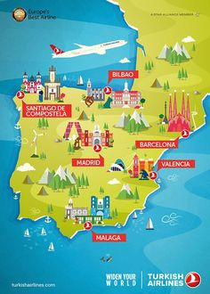 Maptitude — A map of Spain from Turkish Airlines
