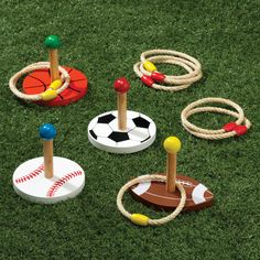 Miles Kimball sports ring toss game has bright sports ball targets and encourages young athletes to play. Ring toss game sets up in seconds, indoors or out.
