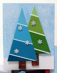 Paint Chip Tree Cards - (Diagonal cut looks more like garland) Homemade Christmas Cards, Kids Christmas, Homemade Cards, Handmade Christmas, Christmas Trees, Christmas Punch, Christmas Greetings, Christmas Ornaments, Paint Chip Cards