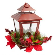 One of my favorite discoveries at ChristmasTreeShops.com: Red Lantern with Christmas Florals