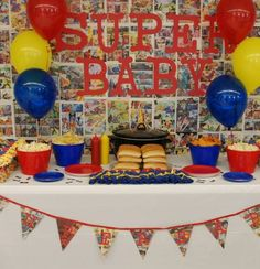 Superhero Baby Shower Food Table - love the backdrop and banner Superman Baby Shower, Marvel Baby Shower, Superhero Baby Shower, Baby Shower Fruit, Baby Shower Games, Baby Shower Parties, Baby Boy Shower, Shower Party, Jordan Baby Shower