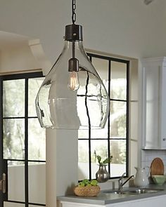 Avalbane Pendant Light, Clear/Gray - All About Decoration Farmhouse Pendant Lighting, Kitchen Pendant Lighting, Kitchen Pendants, Glass Pendant Light, Over Island Pendant Lights, Island Pendants, Pendant Lighting Over Dining Table, Kitchen Lighting Design, Farmhouse Kitchen Lighting