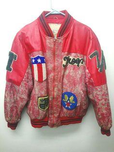 8bbe4893e37 Vintage 80 s Rap Apparel World of Troop Distressed Leather Jacket 7 11 size  L