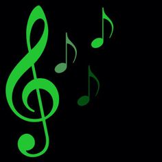 neon green music notes
