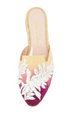 Raffia Embroidered Winx Mules by OSCAR DE LA RENTA Now Available on Moda Operandi