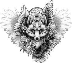 Черно-белый рисунок лисы с ловцом снов и цветами