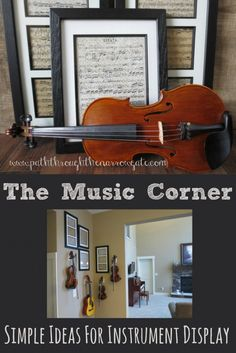 This is a perfect solution for storing instruments, and I love the framed music wall art!