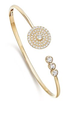 Fantasy Diamond and White Topaz Bangle in 18ct Yellow Gold