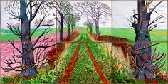 In David Hockney returned to his native Yorkshire and undertook a series of landscape paintings. 'A closer winter tunnel, February-March' 2006 was the first of his multiple canvas paintings. This 6 part painting was painted not in the studio . David Hockney Landscapes, David Hockney Paintings, Robert Rauschenberg, Landscape Art, Landscape Paintings, Tree Paintings, Amazing Paintings, David Hockney Ipad, Edward Hopper