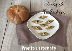 Gli occhi di Halloween sono dei paurosi bocconcini di frittata soffiata al forno modellati come tanti occhietti che dal piatto ci fissano in modo sinistro.#HL2019 #pestibubboniche #halloweenscary #halloweenfun #halloweenforkids #halloweenrecipes #halloweenideadparty #halloweenfood Bocconcini, Frittata, Oven