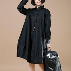 Women Cotton Black Shirt Dress