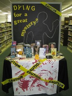 library book dispalys | teen mystery book library display | bulletin board ideas