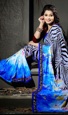 Blue Gray and White Georgette Printed Saree Price: Usa Dollar $68, British UK Pound £40, Euro50, Canada CA$73 , Indian Rs3672.