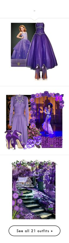 """.."" by magda ❤ liked on Polyvore featuring PacificPlex, KG Kurt Geiger, Oasis, Bottega Veneta, Issa, Brian Atwood, Suzy Smith, purple heels, flowers and purple dress"