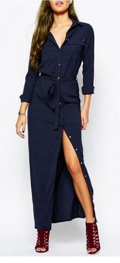 Looks I LOVE! Solid Navy Blue Color Shirt Collar Belted Shirt Dress + Sexy Openwork Wine Sandals #Weekend #Casual #Outfit #Ideas