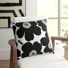 Marimekko, All Modern, Modern Contemporary, Encaustic Tile, Modern Throw Pillows, Color Black, Black And White, Cotton Pillow, Textile Art