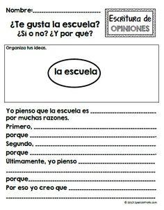 Escritura.... Great graphic organizer------ Spanish Opinion Writing unit for Kindergarten, first and second grande. Escribir opiniones en espanol.: