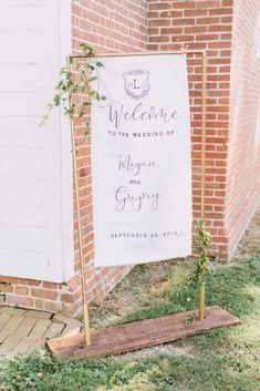 Wood base metal poles fabric wedding sign, calligraphy, linen sign