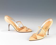Shoes, Evening  Albanese (Italian)  Date: 1958 Culture: Italian Medium: leather Dimensions: 5 x 8 in. (12.7 x 20.3 cm) Credit Line: Brooklyn Museum Costume Collection at The Metropolitan Museum of Art, Gift of the Brooklyn Museum, 2009; Gift of Charline Osgood, 1960
