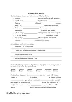 spanish reflexive verbs worksheet spanish pinterest spanish posts and worksheets. Black Bedroom Furniture Sets. Home Design Ideas