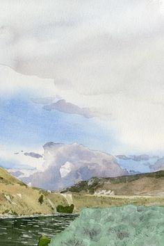 detail, Thompson River, B.C., Canada, watercolor by Eva Bartel