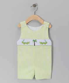 Take a look at this Green Alligator Seersucker John Johns - Infant & Toddler by Sweet Teas Children's Boutique on #zulily today!