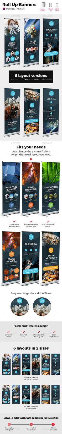 Rollup Stand Banner Display Triangle 12x Indesign Template