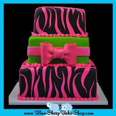 Pink and Lime Zebra Cake- sarah wants purple background with pink stripes. purple and pink zebra cake.