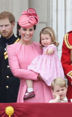 Child's Play from Kate Middleton and Family at Trooping the Colour 2017 Kate is joined by Princess Charlotte, Prince George, Prince William and Prince Harry on a Buckingham Palace balcony.